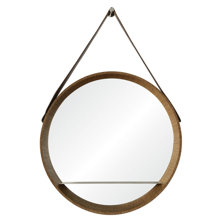 Lenola Oval Mirror - Walnut Veneer/Nickel