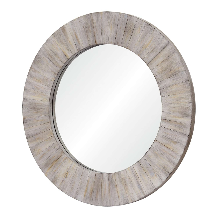 Sheldon Round Mirror - Wood Finish