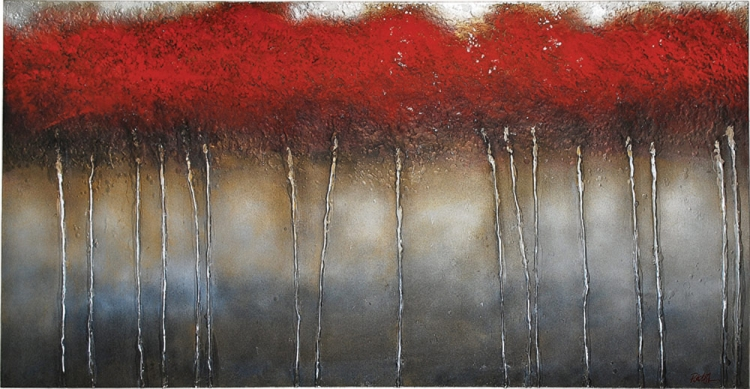 Crimson Forest Canvas Painting