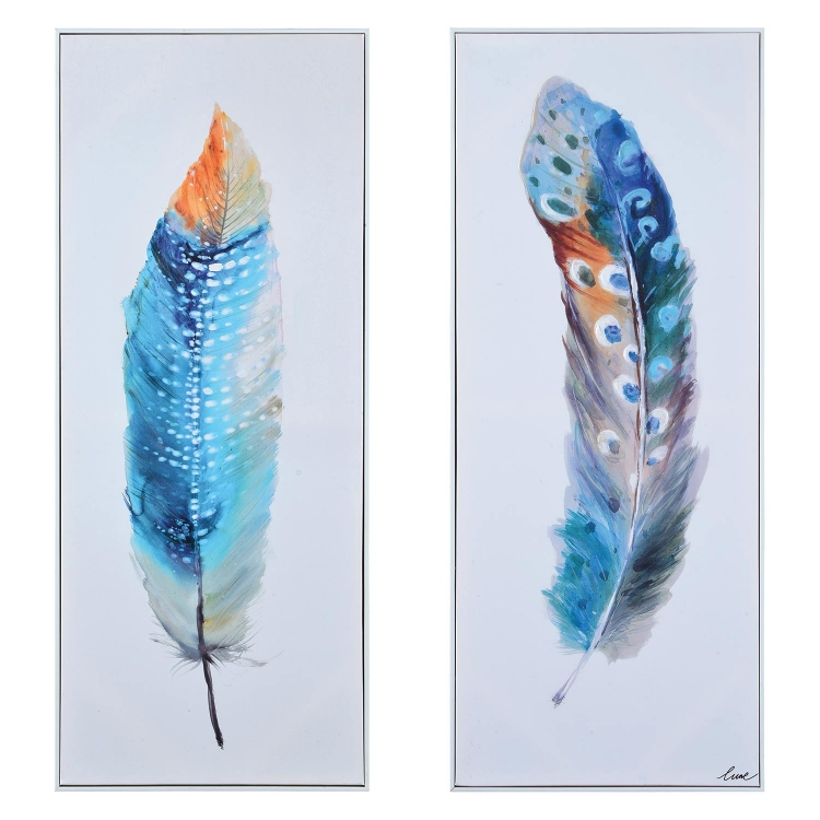 Plume Canvas Painting - White