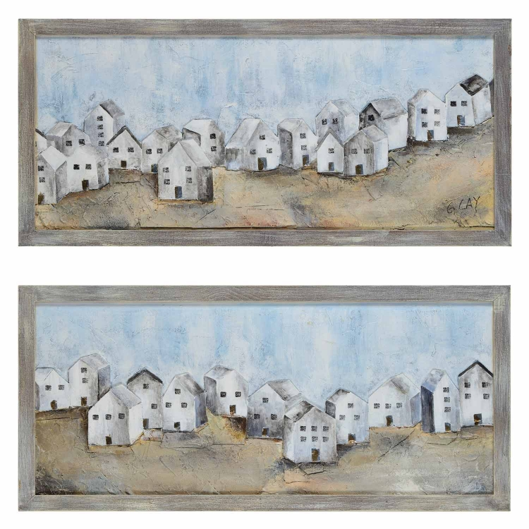 Village Canvas Painting - Grey
