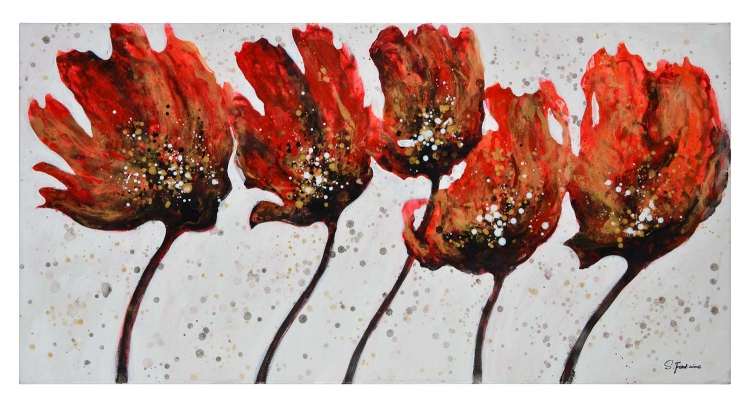 Rosa Canvas Painting - Red Texture