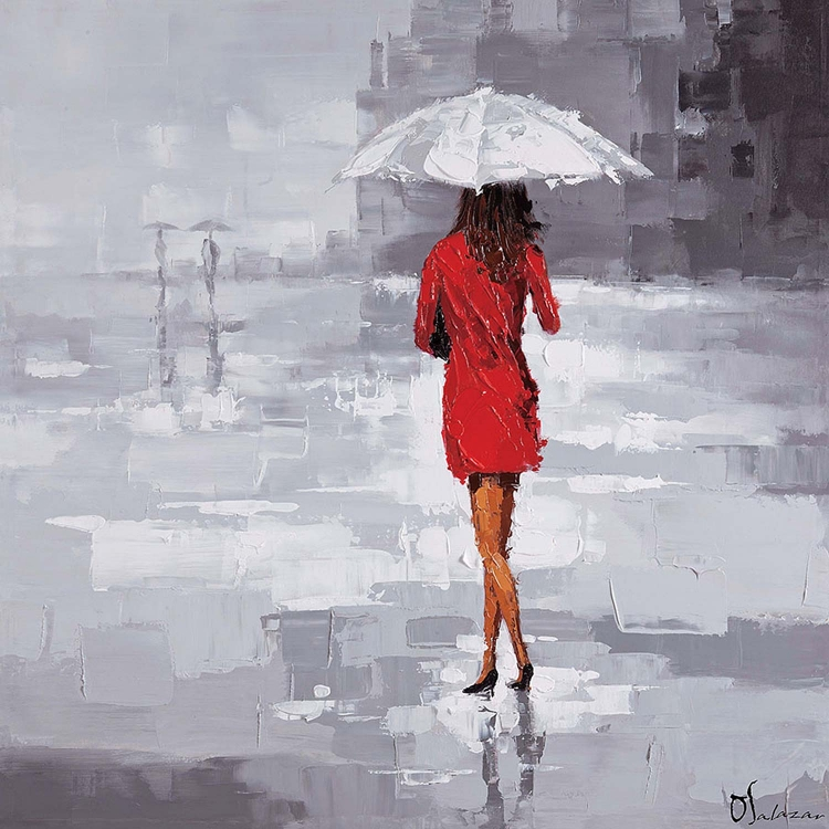 Red Rain Canvas Painting