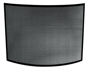 Single Panel Curved Black Wrought Iron Screen-Uniflame