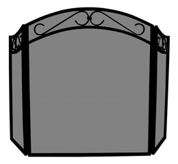 3 Fold Black Wrought Iron Arch Top Screen With Scrolls-Uniflame