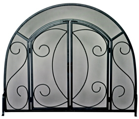 Single Panel Black Wrought Iron Ornate Screen W/ Doors-Uniflame