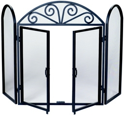 3 Fold Black Wrought Iron Screen With Opening Doors-Uniflame
