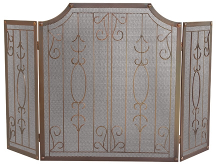 3 Fold Venetian Bronze Screen With Bars-Uniflame