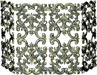 4 Fold Antique Gold Cast Aluminum Screen-Uniflame