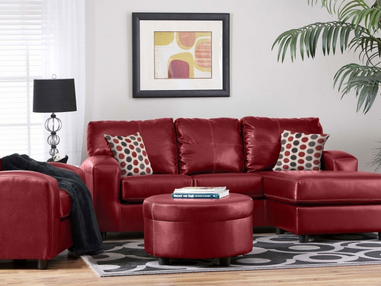 Rona Sectional Sofa Set - San Marino Red - Seven Devils