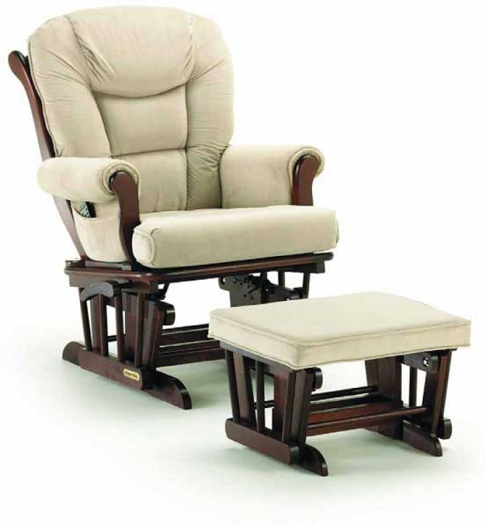 Luxury Glider Rocker and Ottoman-Shermag