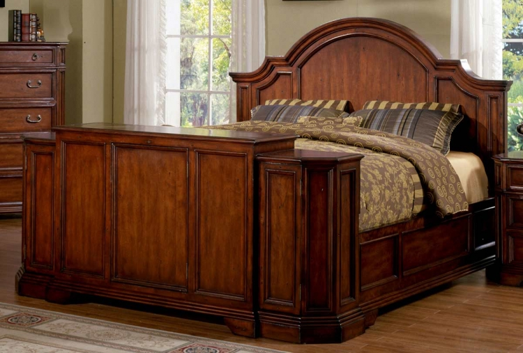 Angela Bed With Footboard Lift - Antique Cherry