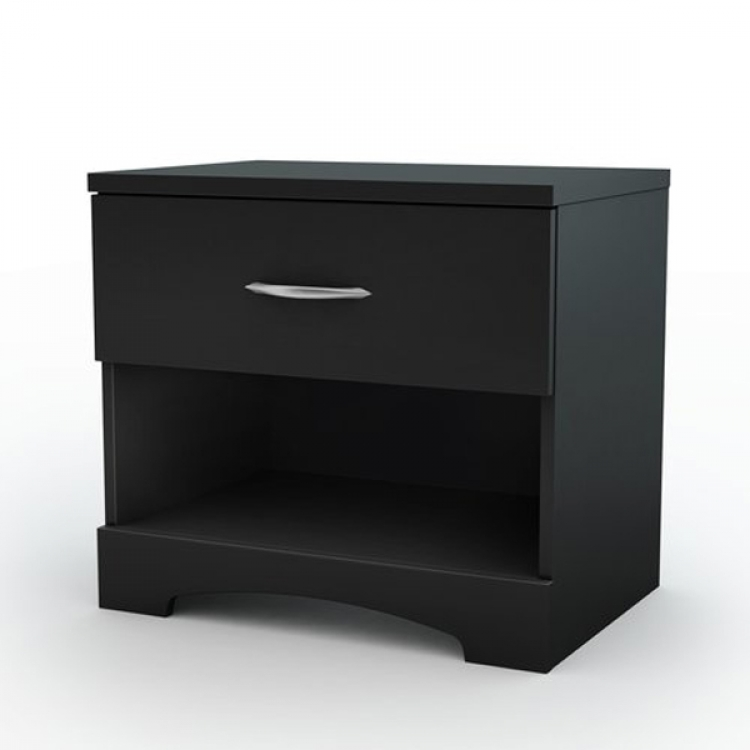 Step One Solid Black Night Stand