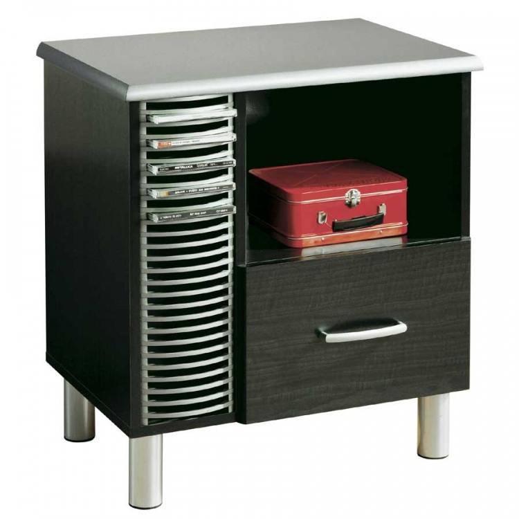Cosmos Black Onyx and Charcoal Night Stand