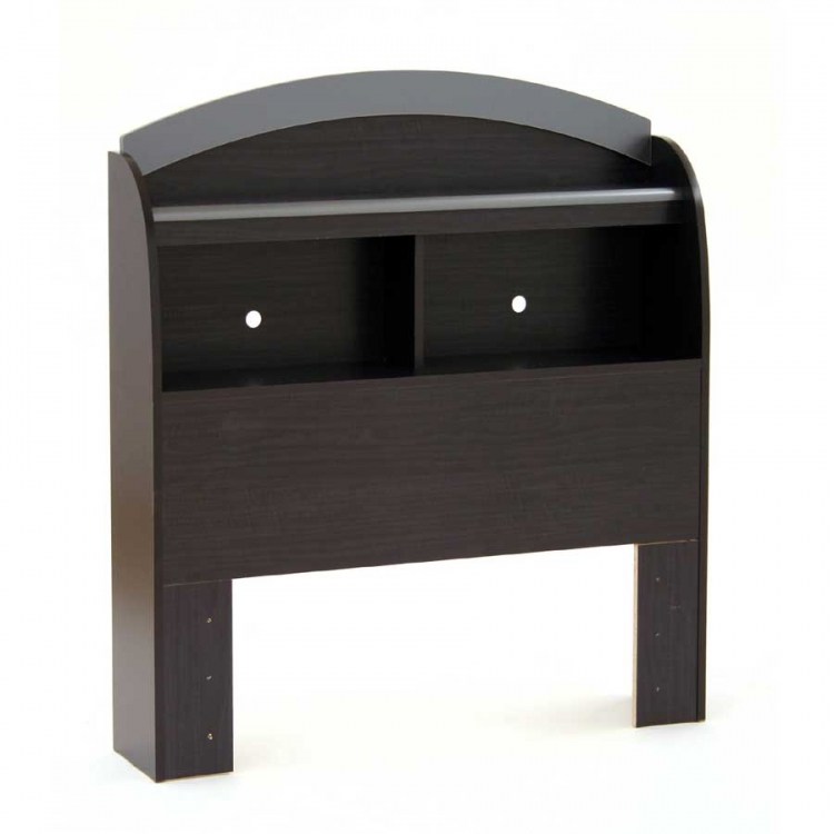 Cosmos Black Onyx and Charcoal Twin Bookcase Headboard