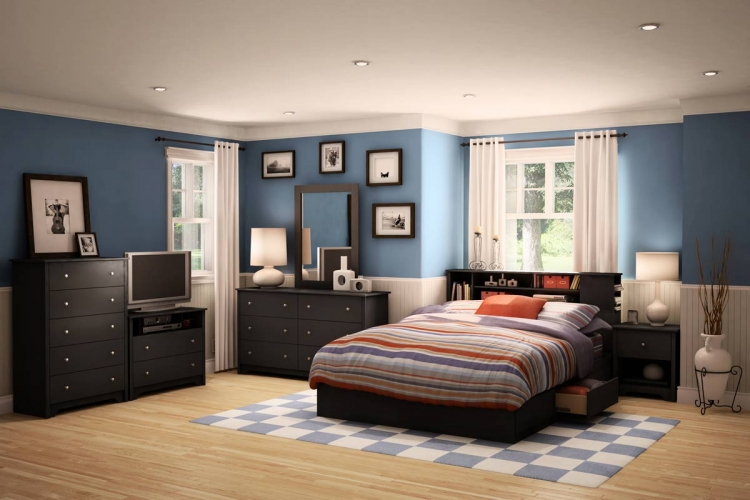 Vito Solid Black Queen Mates Platform Bedroom Collection - South Shore