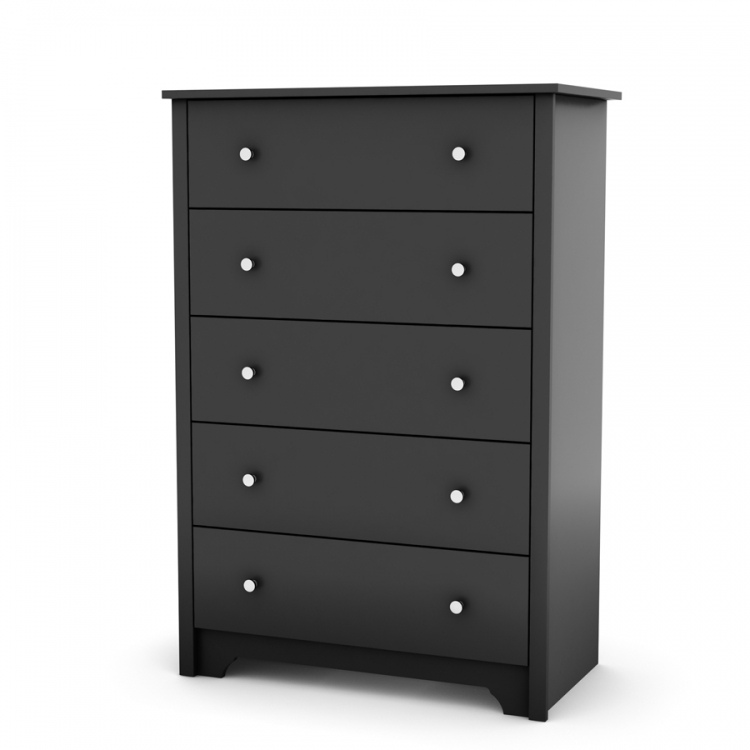 Vito Solid Black 5 Drawer Chest - South Shore