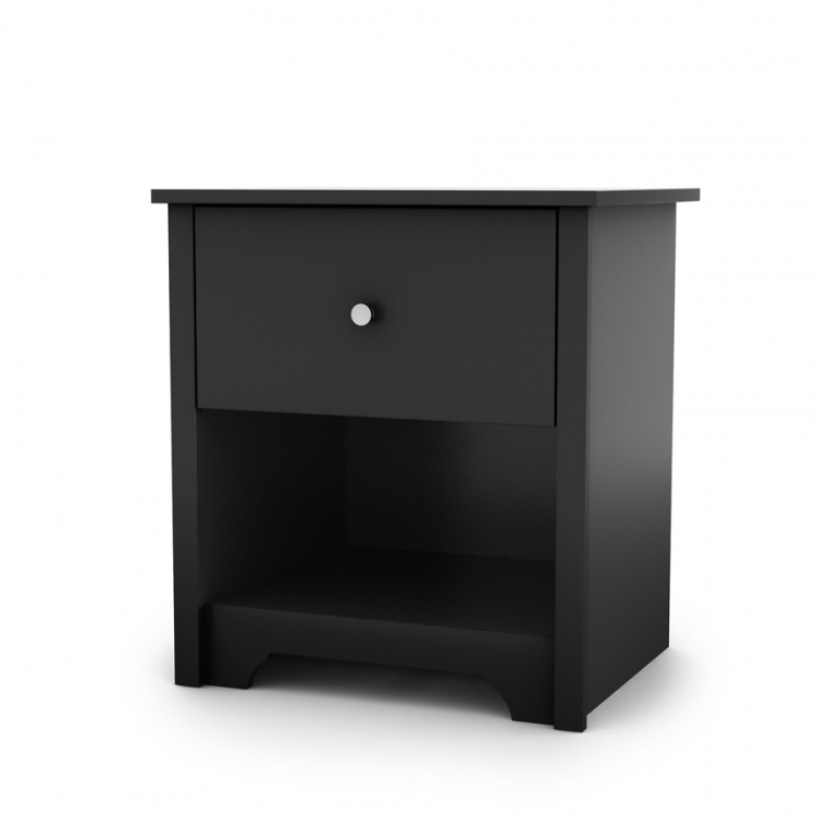 Vito Solid Black Night Stand - South Shore