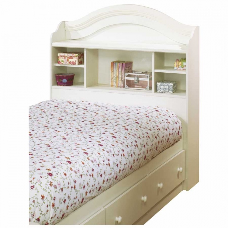 Summer Breeze Vanilla Cream Bookcase Headboard - South Shore