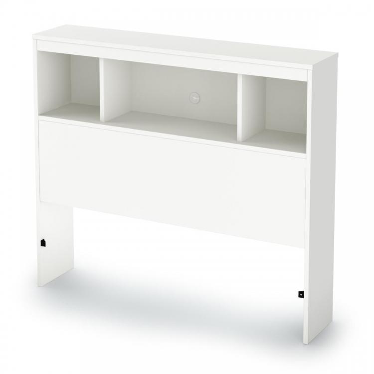 South Shore Sparkling Twin Bookcase Headboard - Pure White