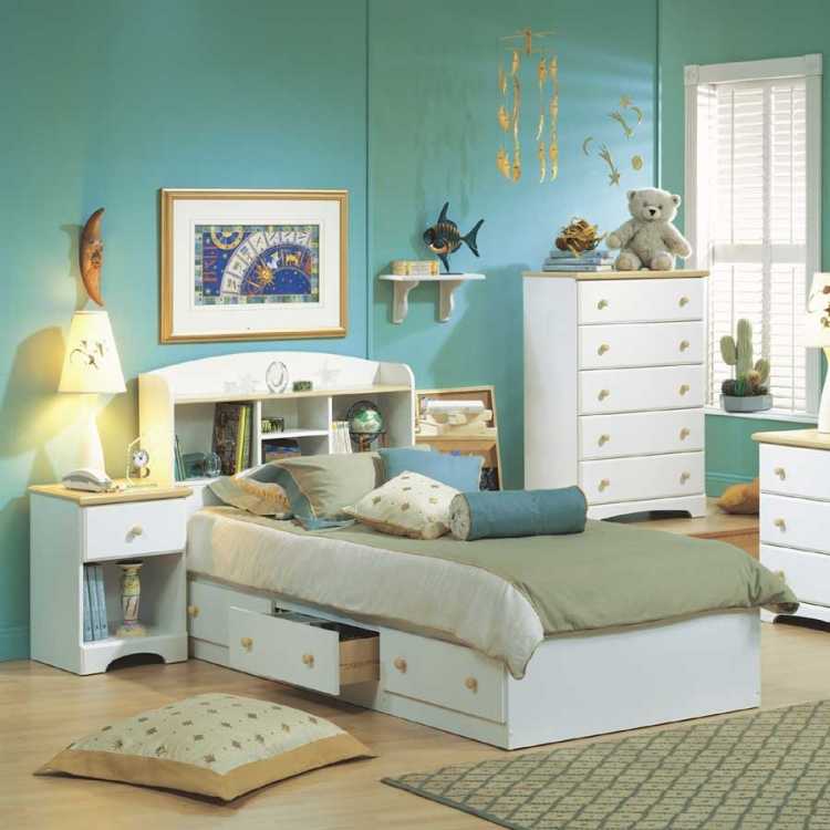 Summertime Pure White and Natural Maple Kids Bedroom Collection - South Shore