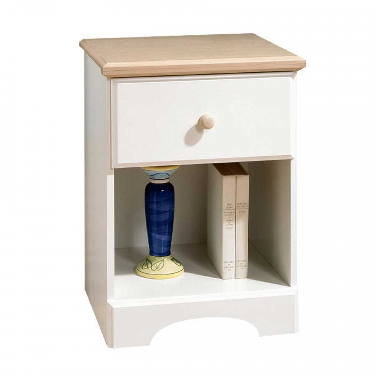 Summertime Pure White and Natural Maple Night Stand - South Shore