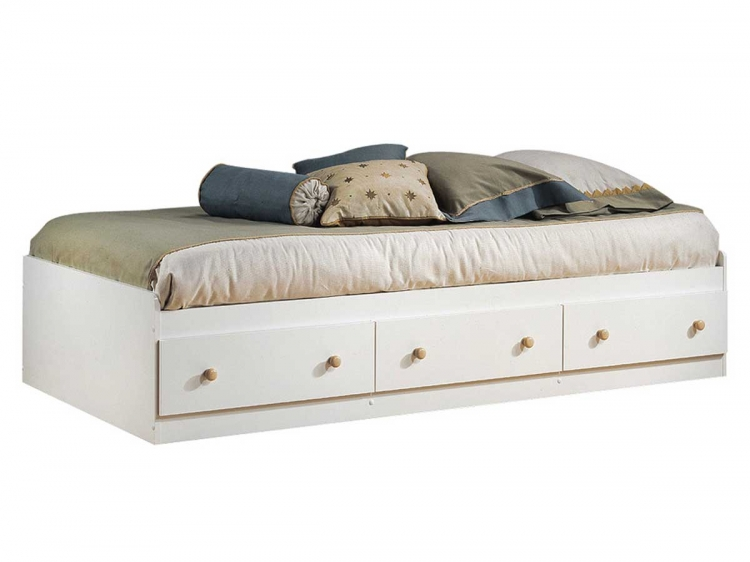 Summertime Pure White and Natural Maple Twin Mates Bed
