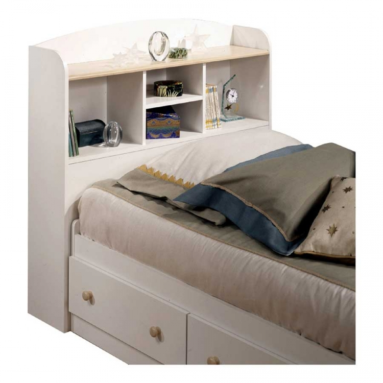 South Shore Summertime Pure White and Natural Maple Twin Bookcase Headboard