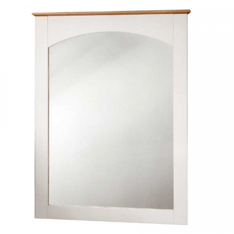 Summertime Pure White and Natural Maple Mirror