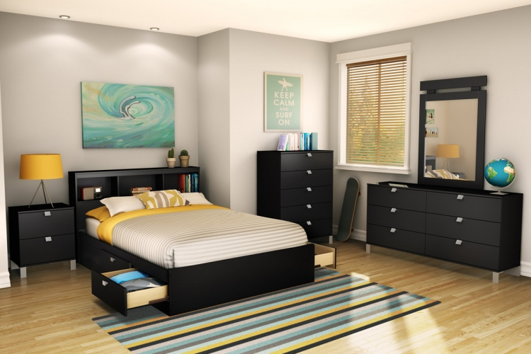 Spark Bedroom Set - Pure Black - South Shore
