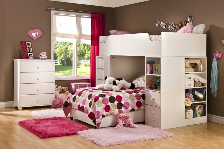 Logik Pure White Kids Loft Bedroom Collection - South Shore