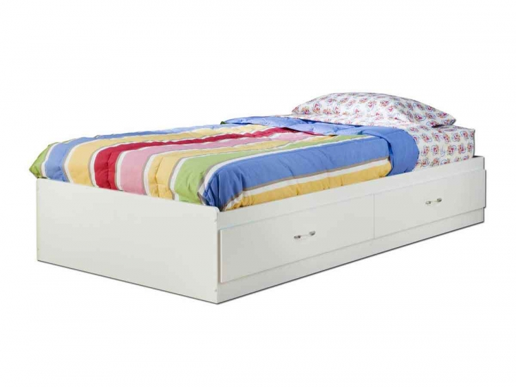 Logik Pure White Twin Mates Bed - South Shore