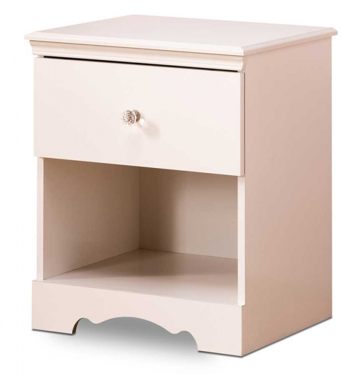 Crystal Pure White Night Stand - South Shore
