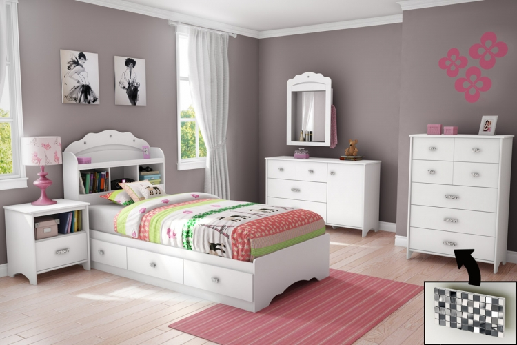 Tiara Bedroom Set - Pure White - South Shore