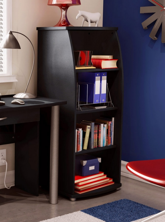 City Life Pure Black Shelf Bookcase