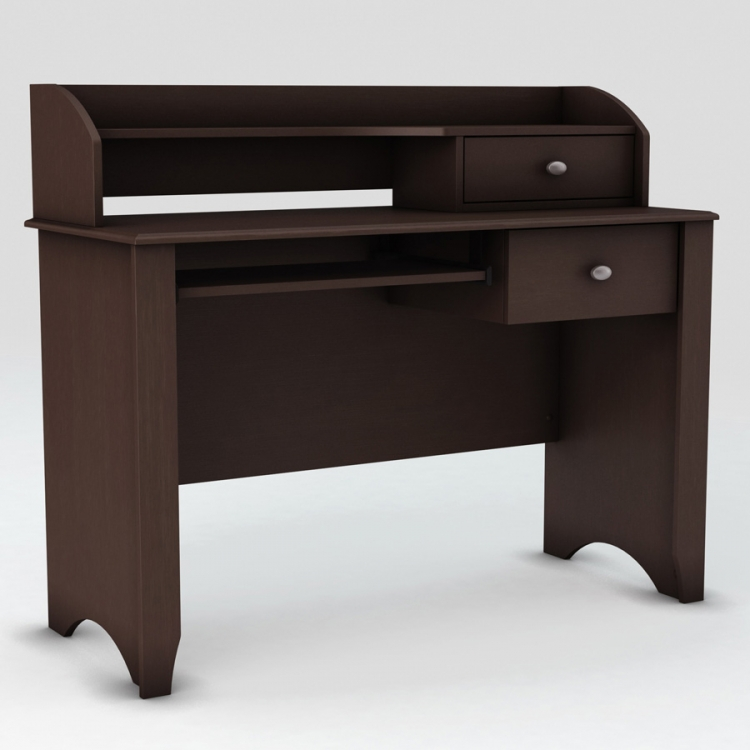 Compact Fit Chocolate Secretary Desk - South Shore