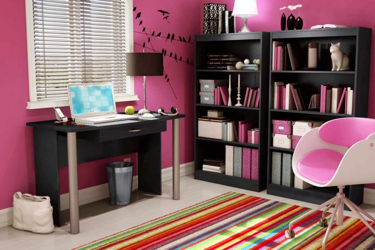 City Life Solid Black Home Office Collection