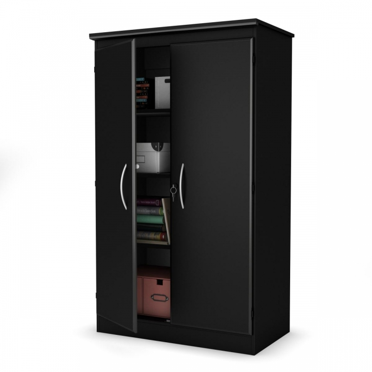 Axess Storage Cabinet - Pure Black - South Shore