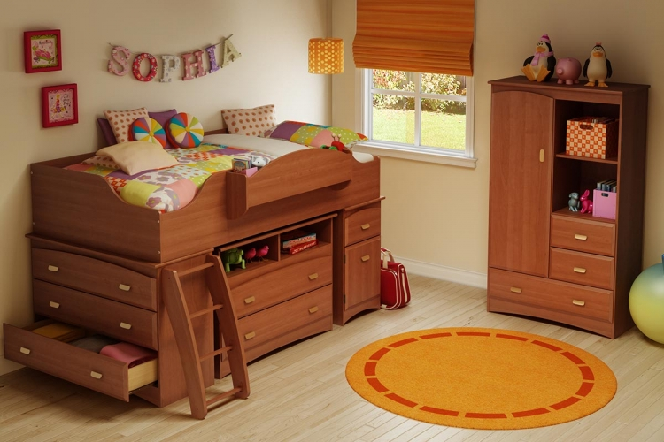 Imagine Morgan Cherry Twin Loft Top Kids Bedroom Collection - South Shore