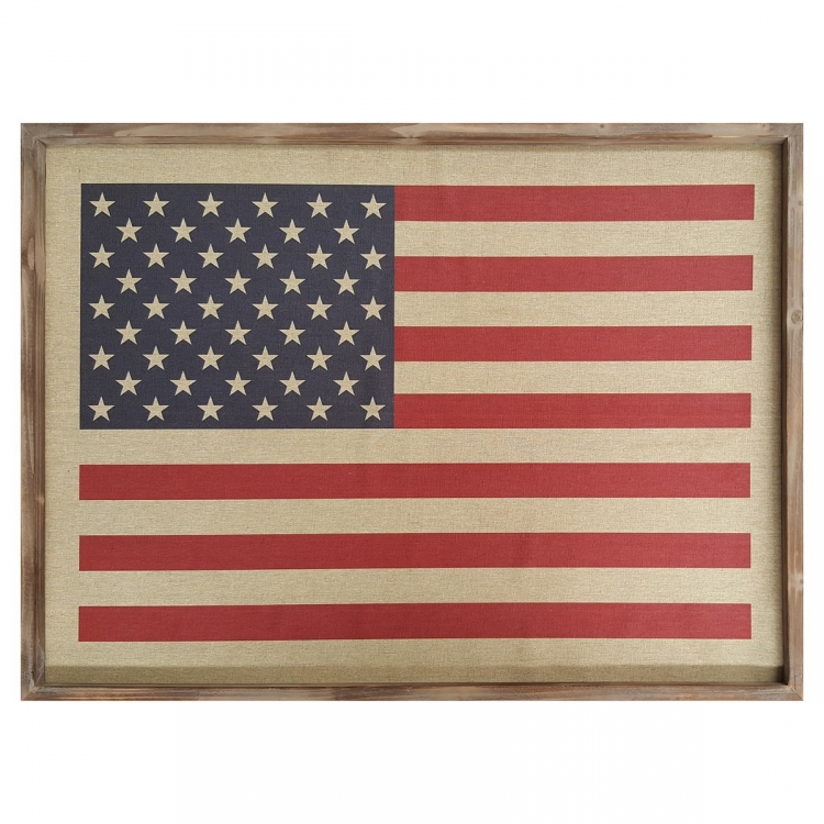 American Flag Wall Art - Natural, Red, Blue