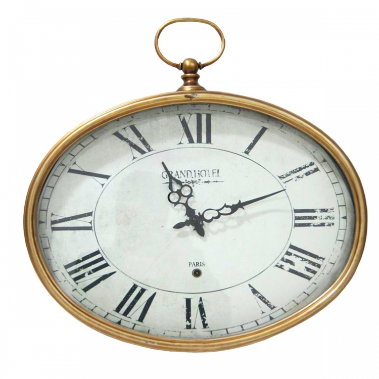 Gold Oval Wall Clock - Gold
