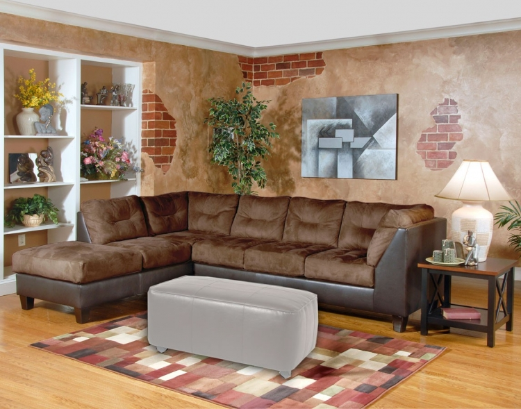 Laura 2 pc. Sectional Sofa - San Marino Chocolate - Serta Upholstery