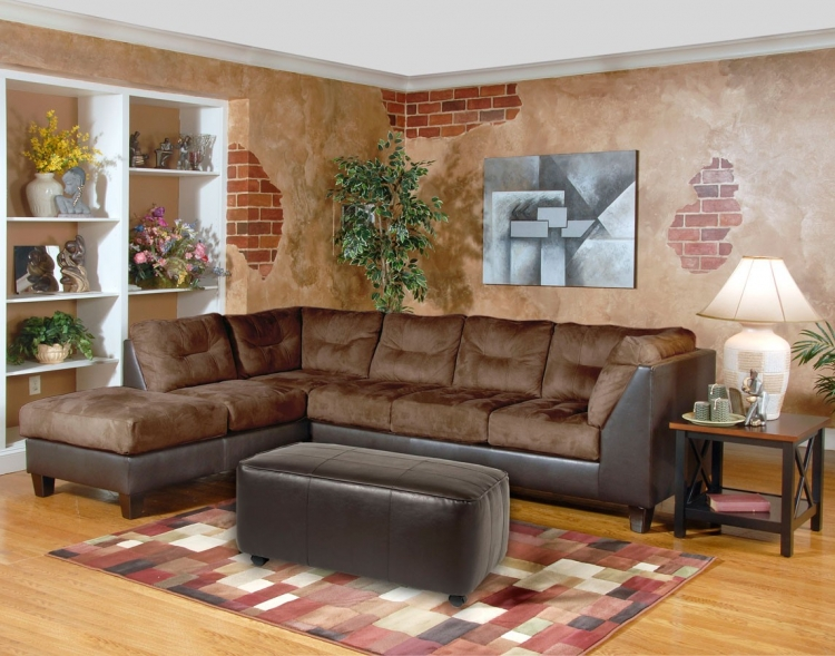 Laura 2 pc. Sectional Sofa Set - San Marino Chocolate - Serta Upholstery