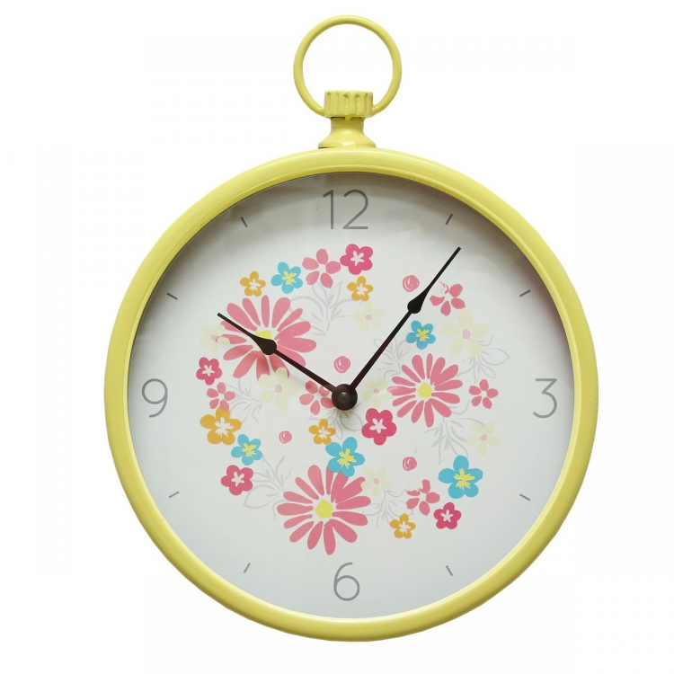Retro Round Wall Clock - Yellow