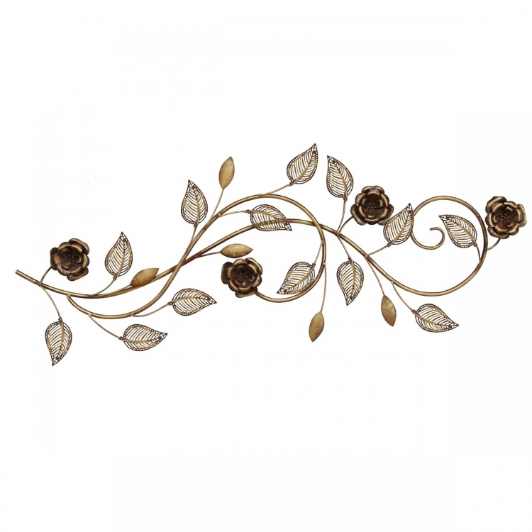 Rose Scroll Wall Decor - Red/Gold