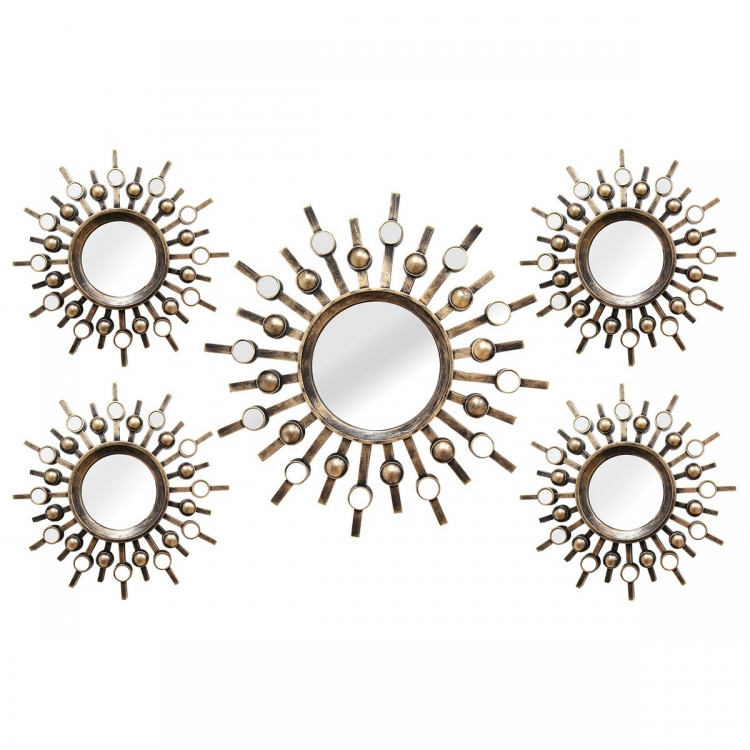 5 Piece Burst Mirrors - Bronze