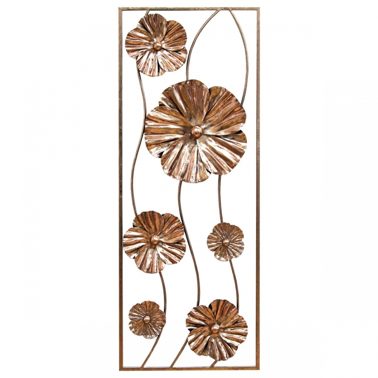 Rose Gold Flower Panel Wall Decor - Rose Gold