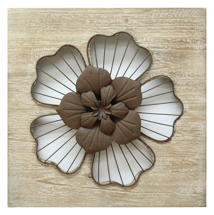 Rustic Flower Wall Decor - Natural Wood/Espresso