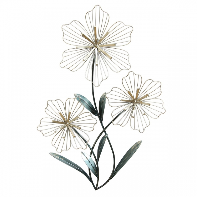 Tri-Flower Wall Decor - Silver and Blue