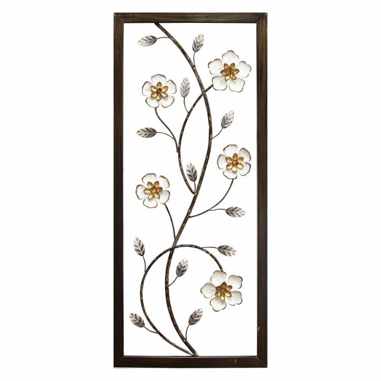 White Blooming Floral Panel Wall Decor - White and Black